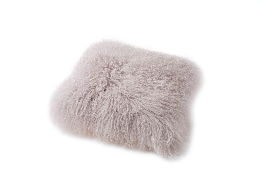 FLUFFY SHEEPS WOOL CUSHION COVER  - SOFT GREY