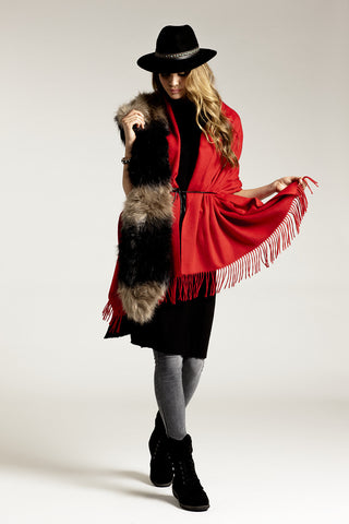 CASHMERE/MERINO WOOL WRAP - RED