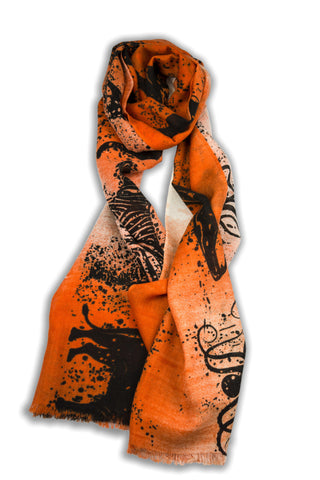 100% MERINO WOOL SCARF - ORANGE BLACK
