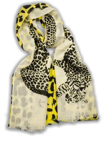 100% MERINO WOOL SCARF BLACK YELLOW