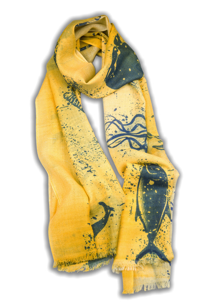 100% MERINO WOOL SCARF BLUE YELLOW
