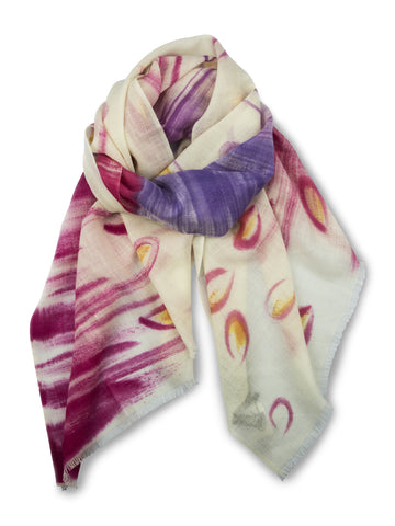 TIE HAND PAINTED SCARF - CREAM PINK