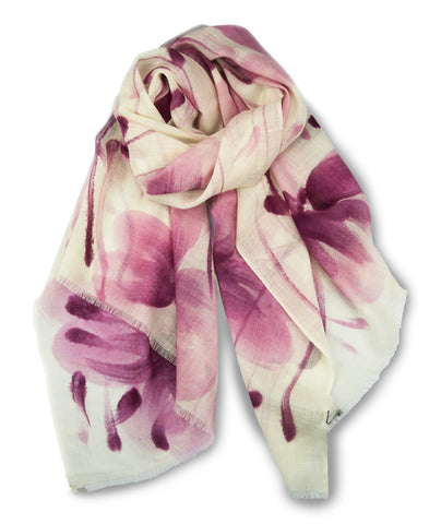 TIE HAND PAINTED SCARF - BRIGHT MAROON