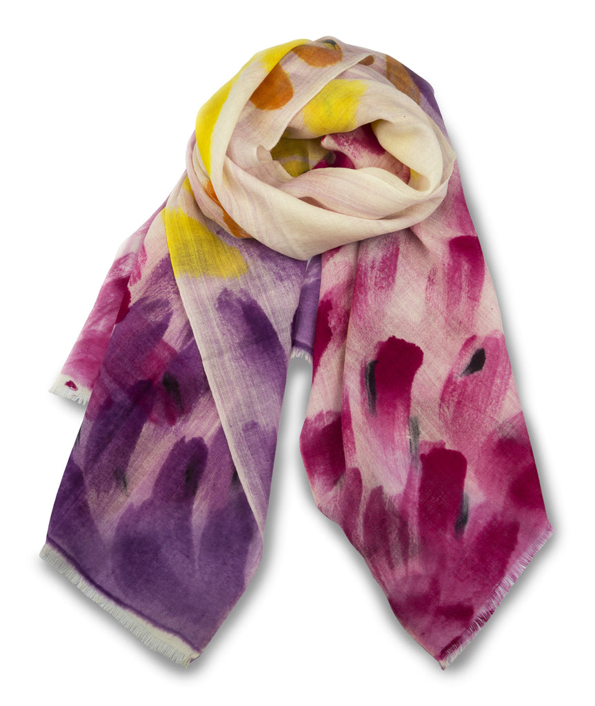 TIE HAND PAINTED SCARF - ROSE YELLOW