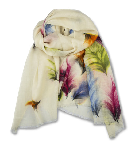 TIE HAND PAINTED SCARF - ALMOND