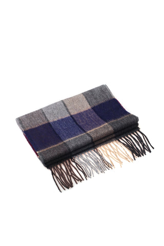 100% WOOL SCARF NAVY/GREY