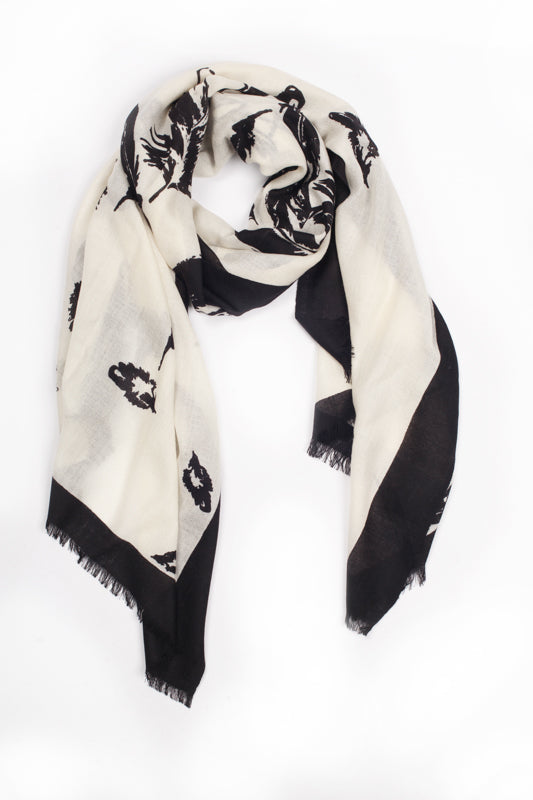 100% MERINO WOOL SCARF - WHITE/BLACK