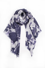 100% MERINO WOOL SCARF - WHITE/GREY