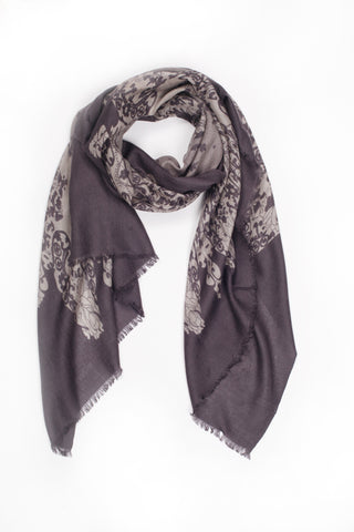 100% MERINO WOOL SCARF - SMOKEY GREY
