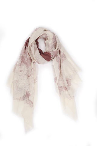 100% MERINO WOOL SCARF - CREAM/TAN