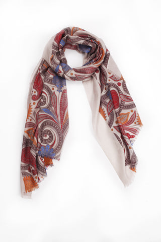 100% MERINO WOOL SCARF - PALE TAUPE/ORANGE