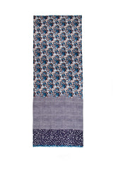 100% MERINO WOOL SCARF - PURPLISH BLUE CHECK