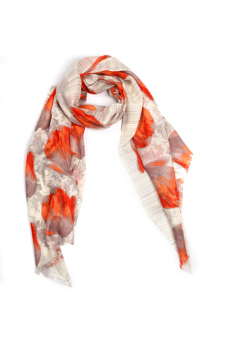 100% MERINO WOOL SCARF - BEIGE/ORANGE