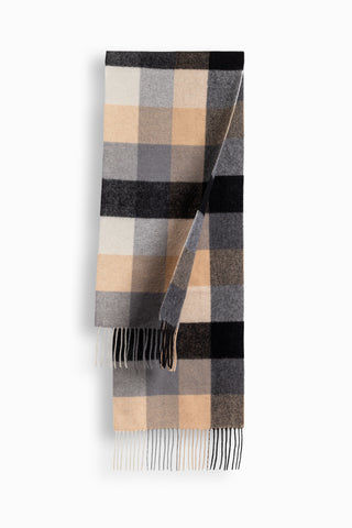 100% WOOL SCARF GREY/NAVY CHECK