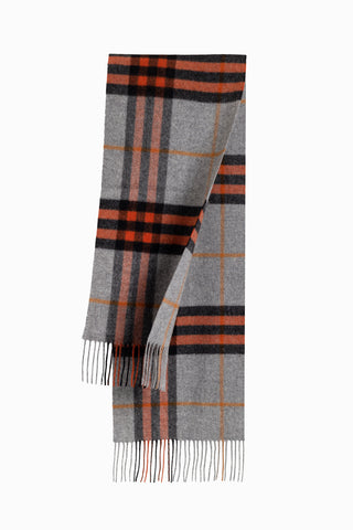 100% WOOL SCARF DARK GREY/TOFFEE CHECK