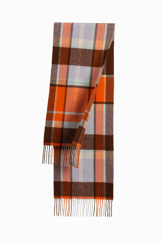 100% WOOL SCARF MAROON/LIGHT GREY CHECK