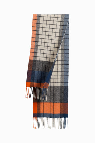 100% WOOL SCARF IVORY/ORANGE BLUE CHECK
