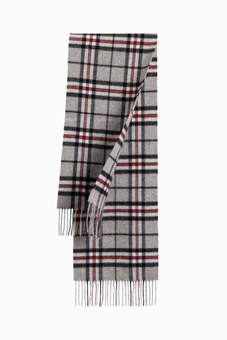 100% WOOL SCARF ASH GREY/BLACK CHECK