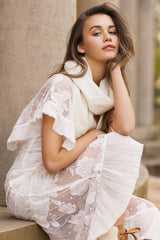 CASHMERE AND WOOL SCARF - OFF WHITE