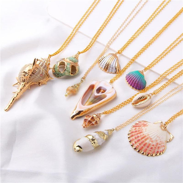Conch Shell Necklace Shell Gold Shell Chain Necklace