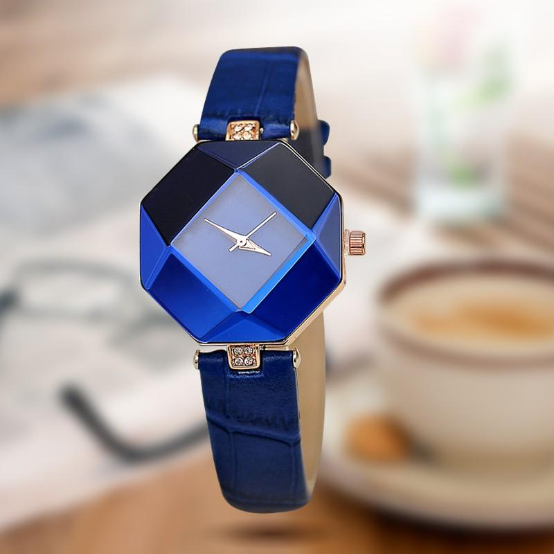 Cut Geometry Crystal Leather Quartz Wristwatch