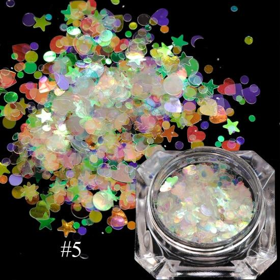 1 box Holographic Nail Glitter Mix Star Round Heart