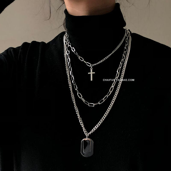 Cross Square Metal Multilayer Necklace