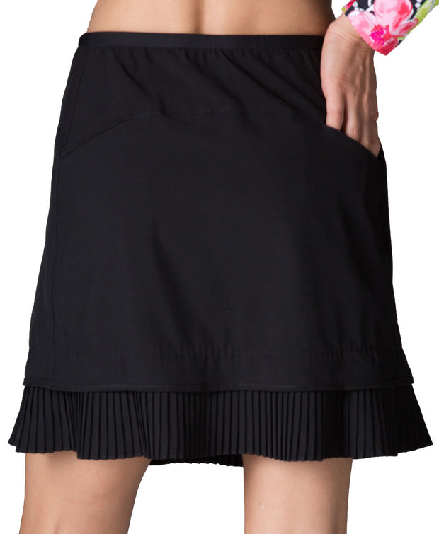 "Solid Crystal Pleat Skort 18"" - 24000 Black - Back"