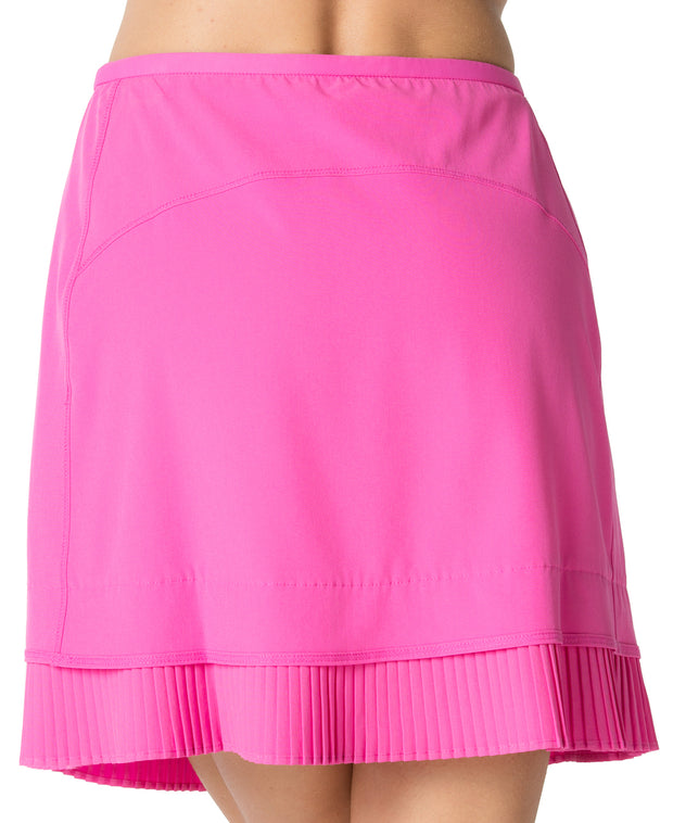 "Solid Crystal Pleat Skort 18"" - 24000 Hot Pink - Back"
