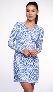 Caribbean Tiles Print V-Neck Dress 53072