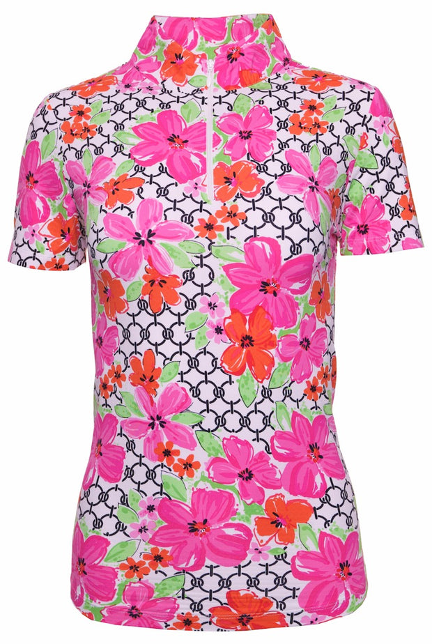 Floral Links Print Short Sleeve Mock Neck Top 17073