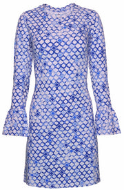 Caribbean Tiles Print Bell Sleeve Dress 55072