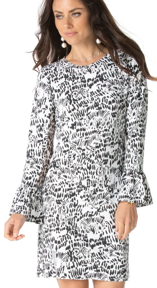 Kenya Print Bell Sleeve Dress 55967 - final sale