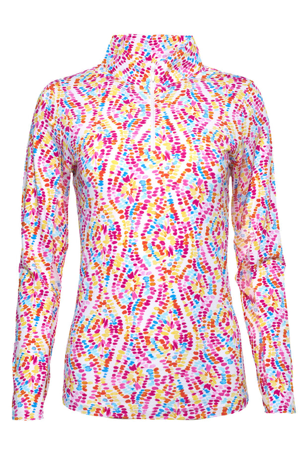 Birthday Cake Print Long Sleeve Mock Neck - 10283