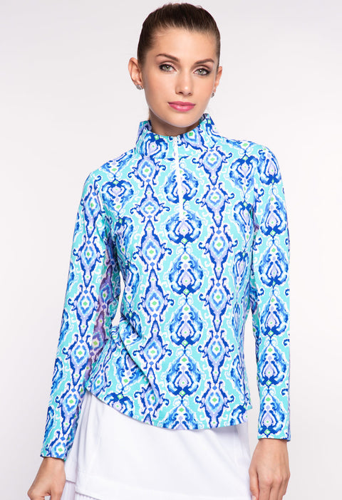 Kathie Print Long Sleeve Mock Neck  - 10289
