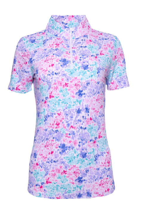 Colleen Print Short Sleeve Mock Neck - 17285