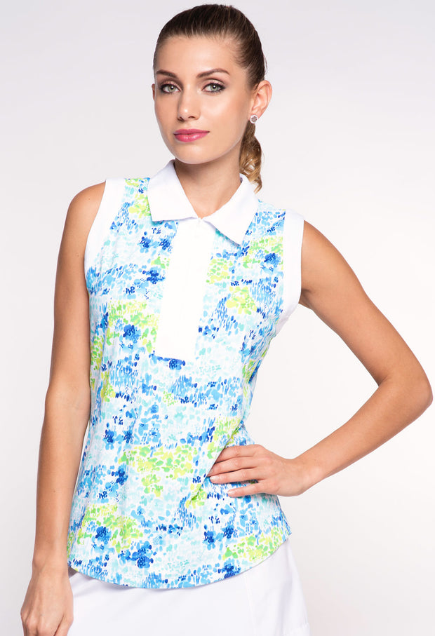 Colleen Print Sleeveless Polo with Trim - 43285