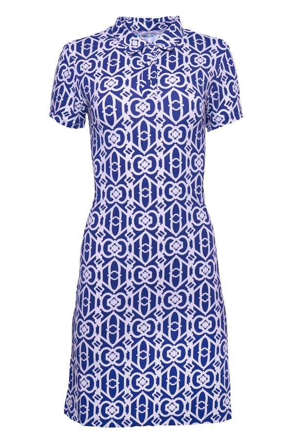 Lucky-Key Print Short Sleeve Polo Dress - 51287