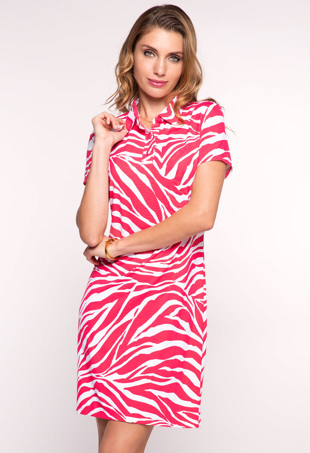 Zazu Print Short Sleeve Polo Dress - 51291
