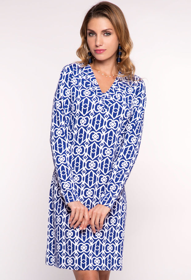 Lucky-Key Print Long Sleeve V-neck Dress - 53287