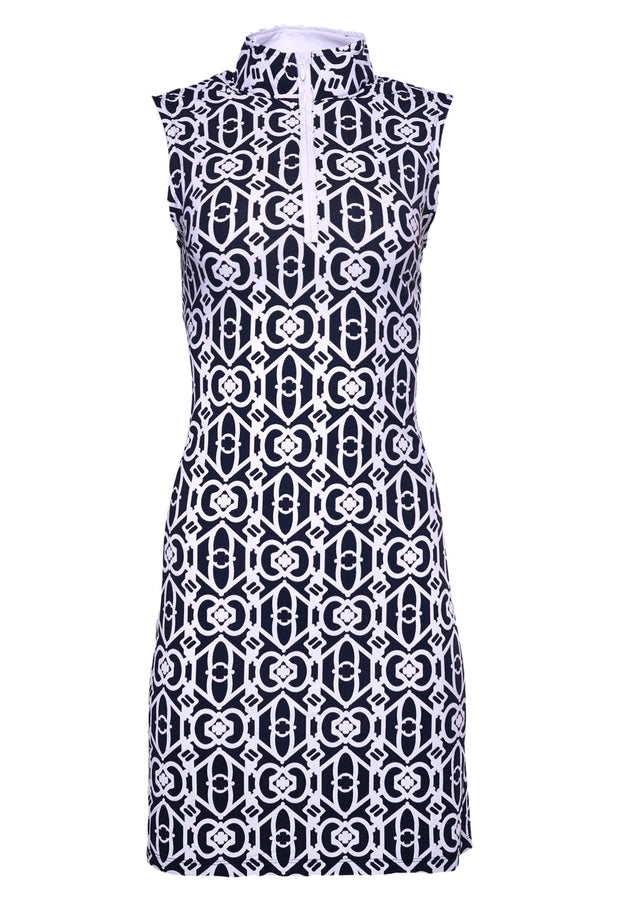 Lucky-Key Print Sleeveless Mock Neck Dress - 56287