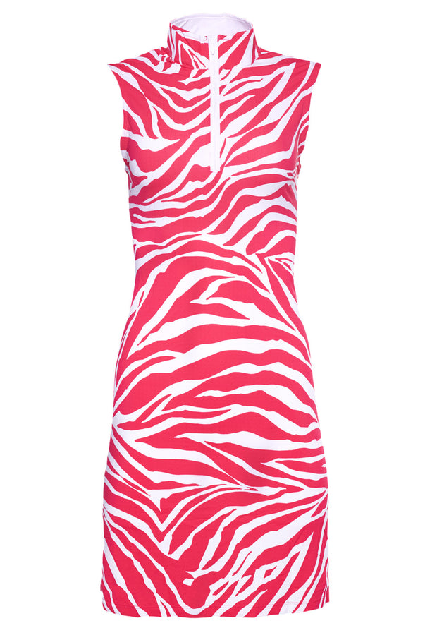 Zazu Print Sleeveless Mock Neck Dress - 56291
