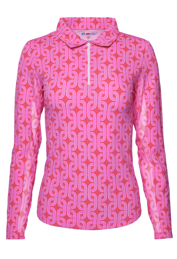 Andrea Print Long Sleeve Polo 11176