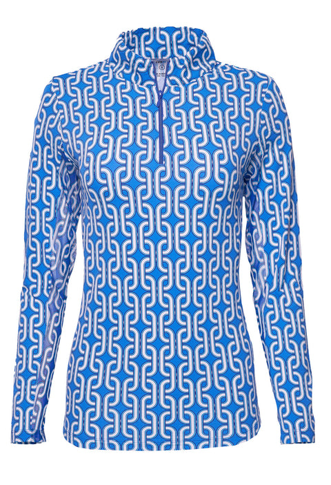 Andrea Print Mock Neck Top 10176