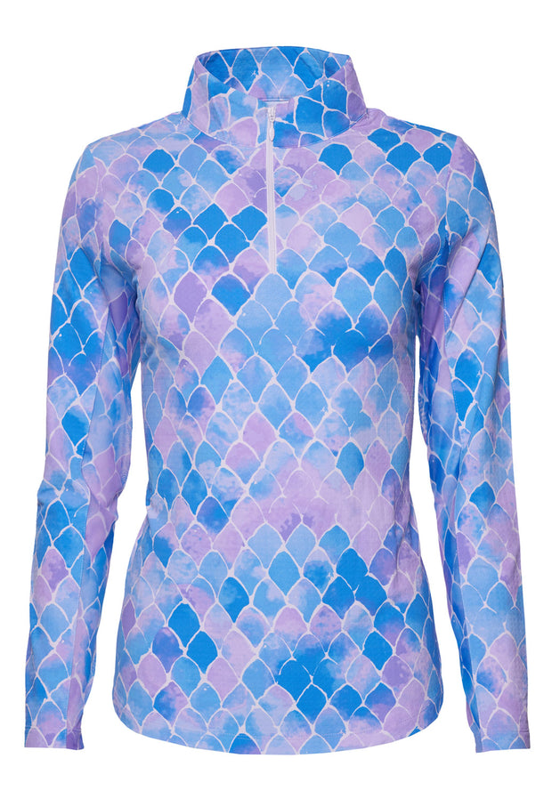 Ariel Print Long Sleeve Mock Neck Top 10177