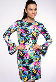 Caroline Print Bell Sleeve Dress 55178