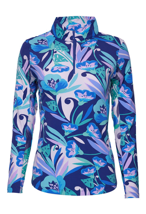 Caroline Print Long Sleeve Mock Neck Top 10178