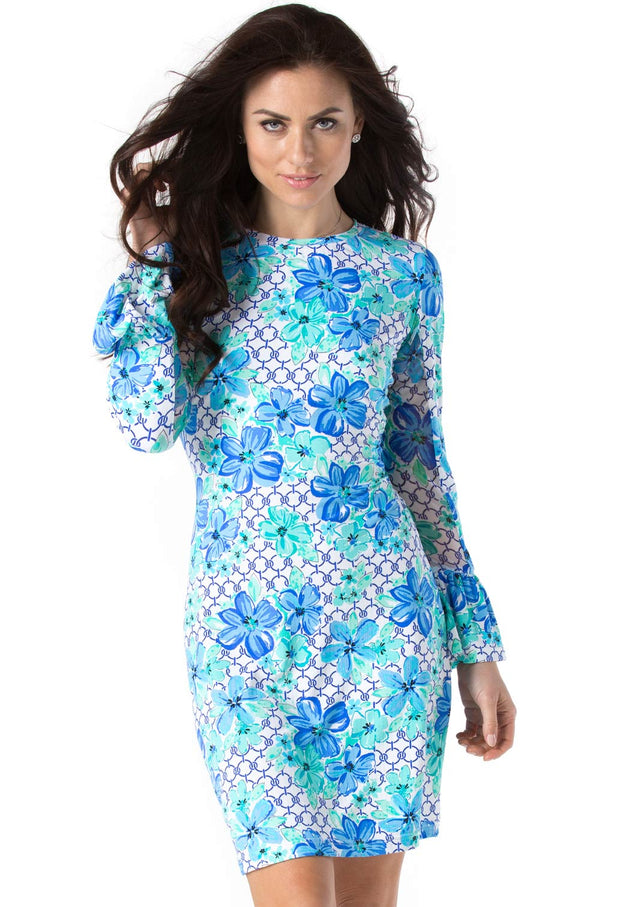 Floral Links Print Bell Sleeve Dress 55073 - final sale