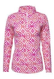 Hollie Print Long Sleeve Mock Neck Top 10179