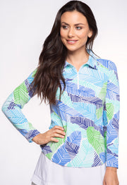Marley Print Long Sleeve Polo 11181